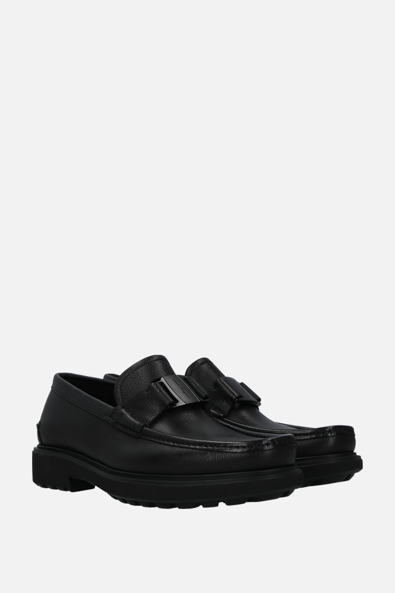SALVATORE FERRAGAMO: Grimes loafers in textured leather Color Black_2