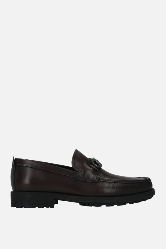 SALVATORE FERRAGAMO: David smooth leather loafers Color Brown_1
