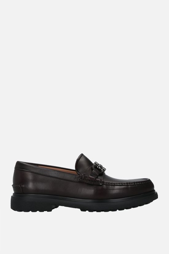SALVATORE FERRAGAMO: Ready smooth leather loafers Color Brown_1