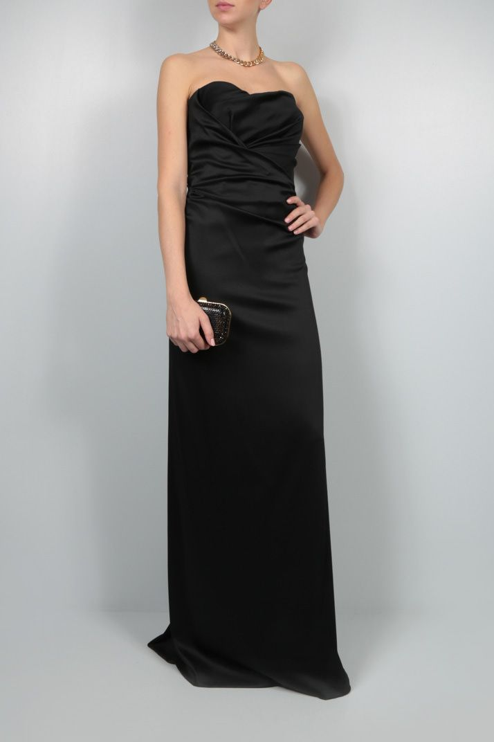 ALBERTA FERRETTI: shiny crepe bustier dress Color Black_2