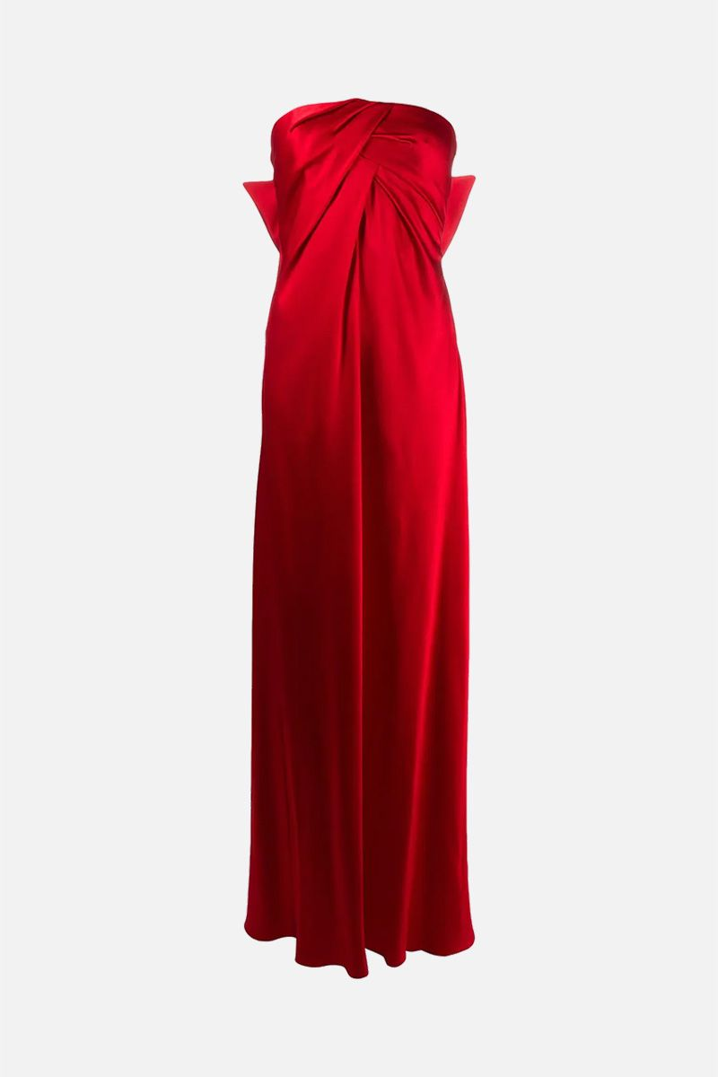 ALBERTA FERRETTI: bow-detailed satin bustier dress Color Red_1