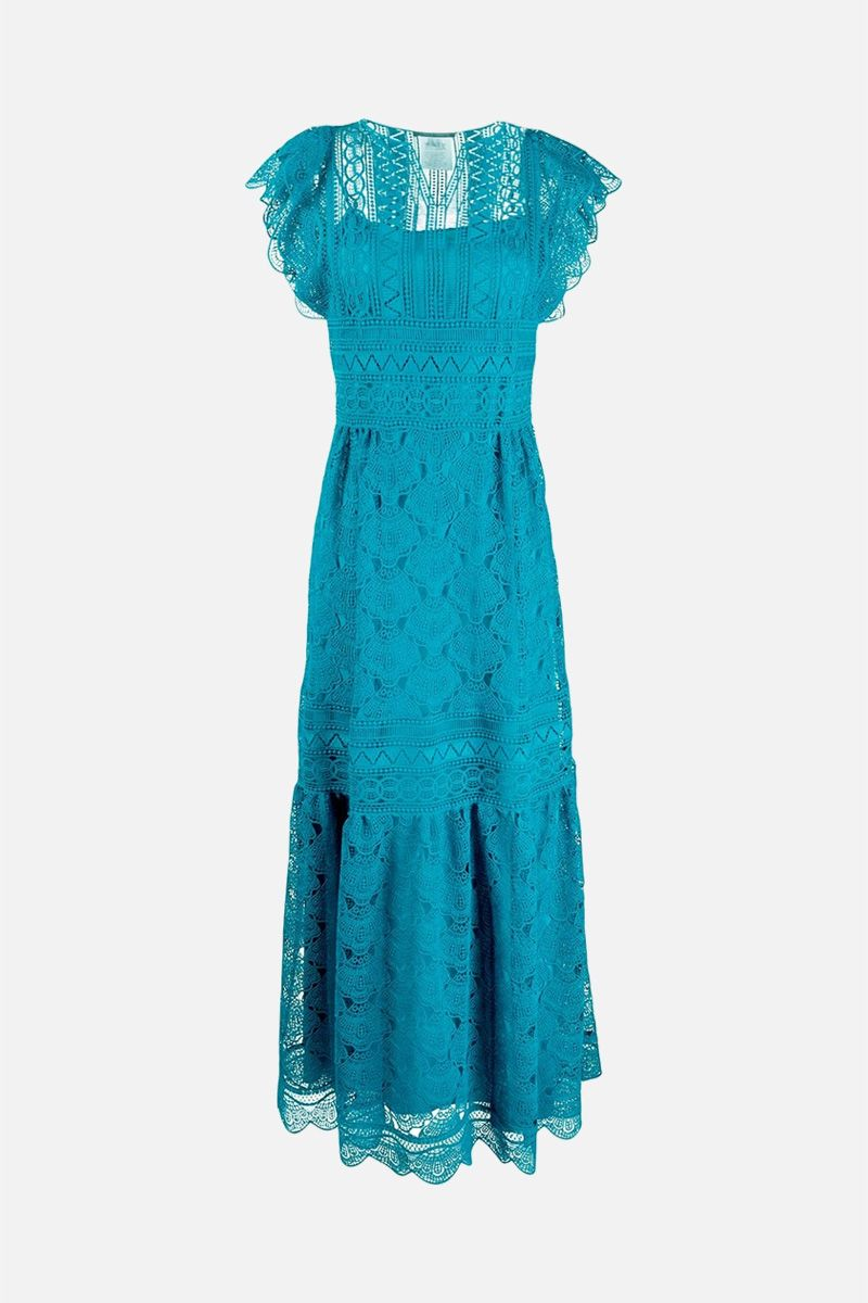 ALBERTA FERRETTI: macramè lace long dress Color Blue_1