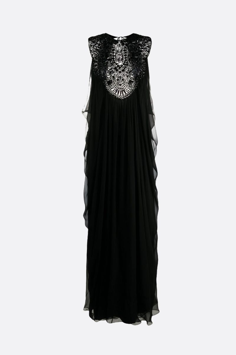 ALBERTA FERRETTI: beads embroidered silk sleeveless dress Color Black_1