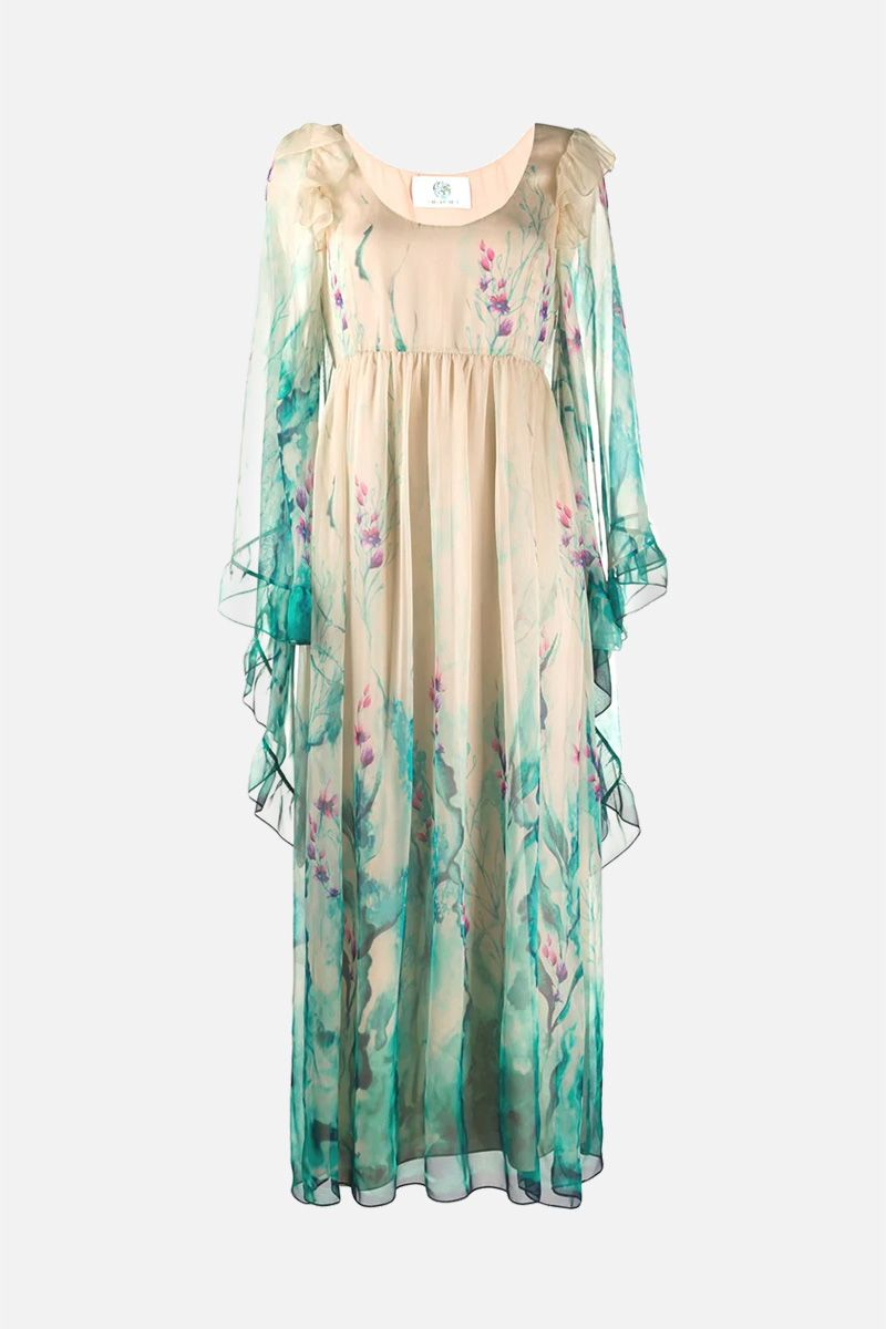 ALBERTA FERRETTI: floral print chiffon long dress Color Multicolor_1