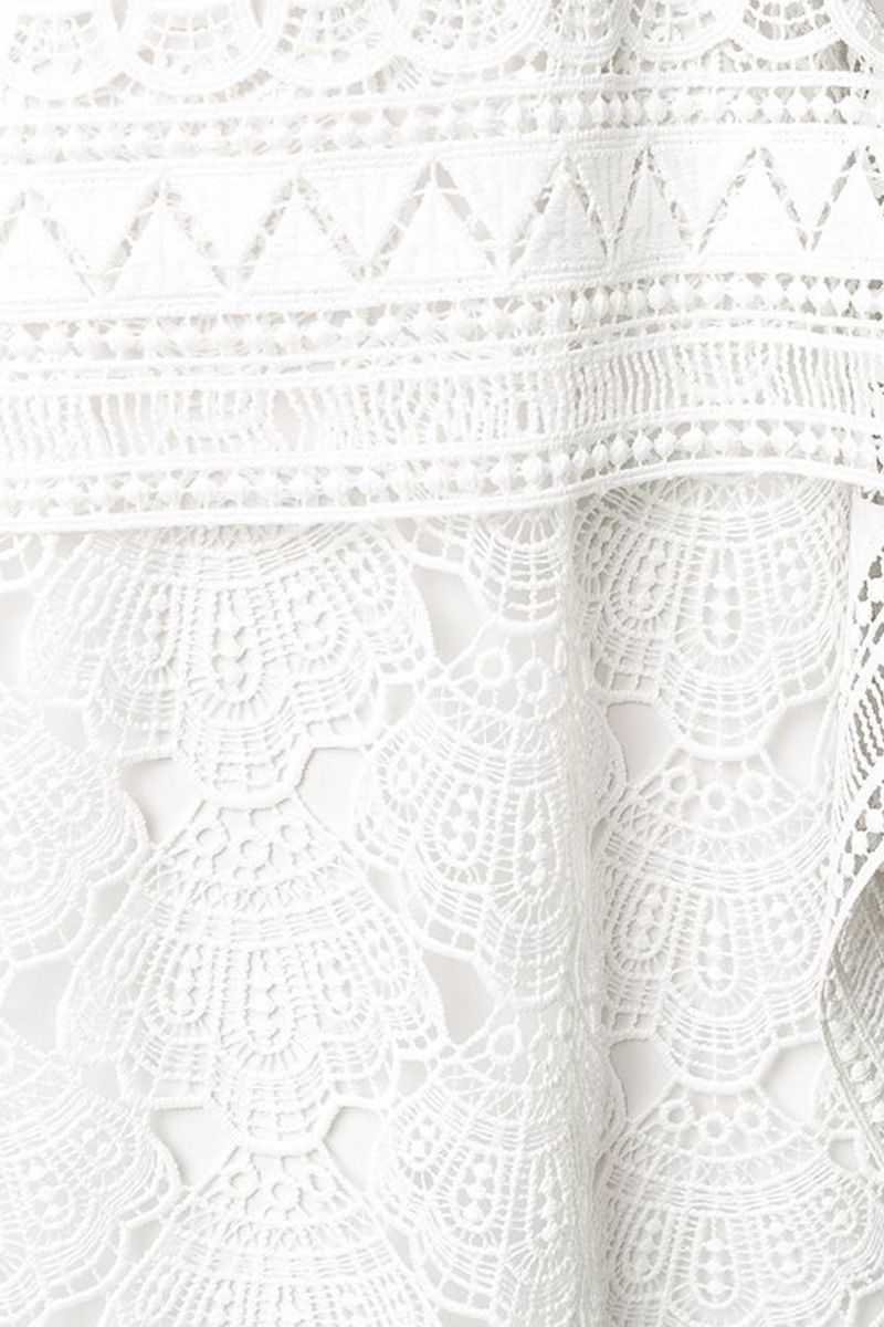 ALBERTA FERRETTI: macramè lace sleeveless dress Color White_2