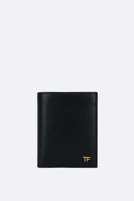 TOM FORD: porta carte T line in pelle martellata Colore Nero_1