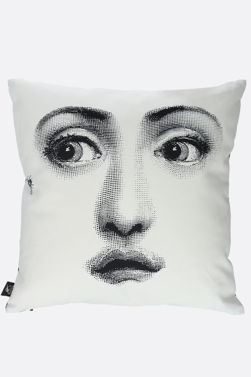 FORNASETTI: Ape linen cotton blend cushion Color White_2