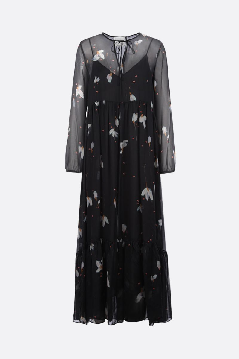 FORTE FORTE: floral print silk long dress Color Black_1