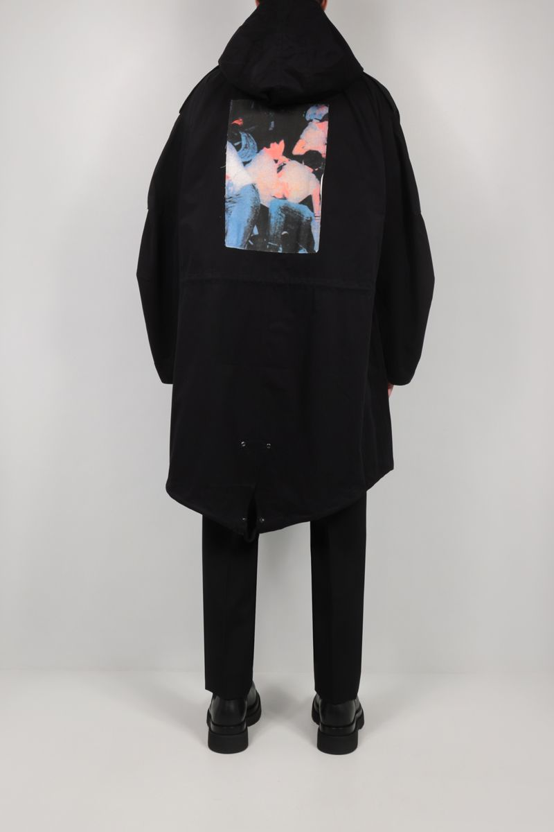 FRED PERRY X RAF SIMONS: patch-detailed oversize twill parka coat Color Black_2