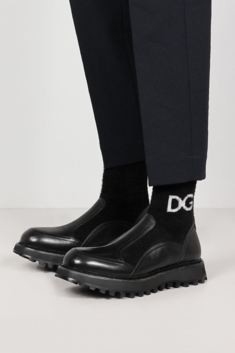 DOLCE & GABBANA: Bernini smooth leather and stretch knit ankle boots Color Black_2