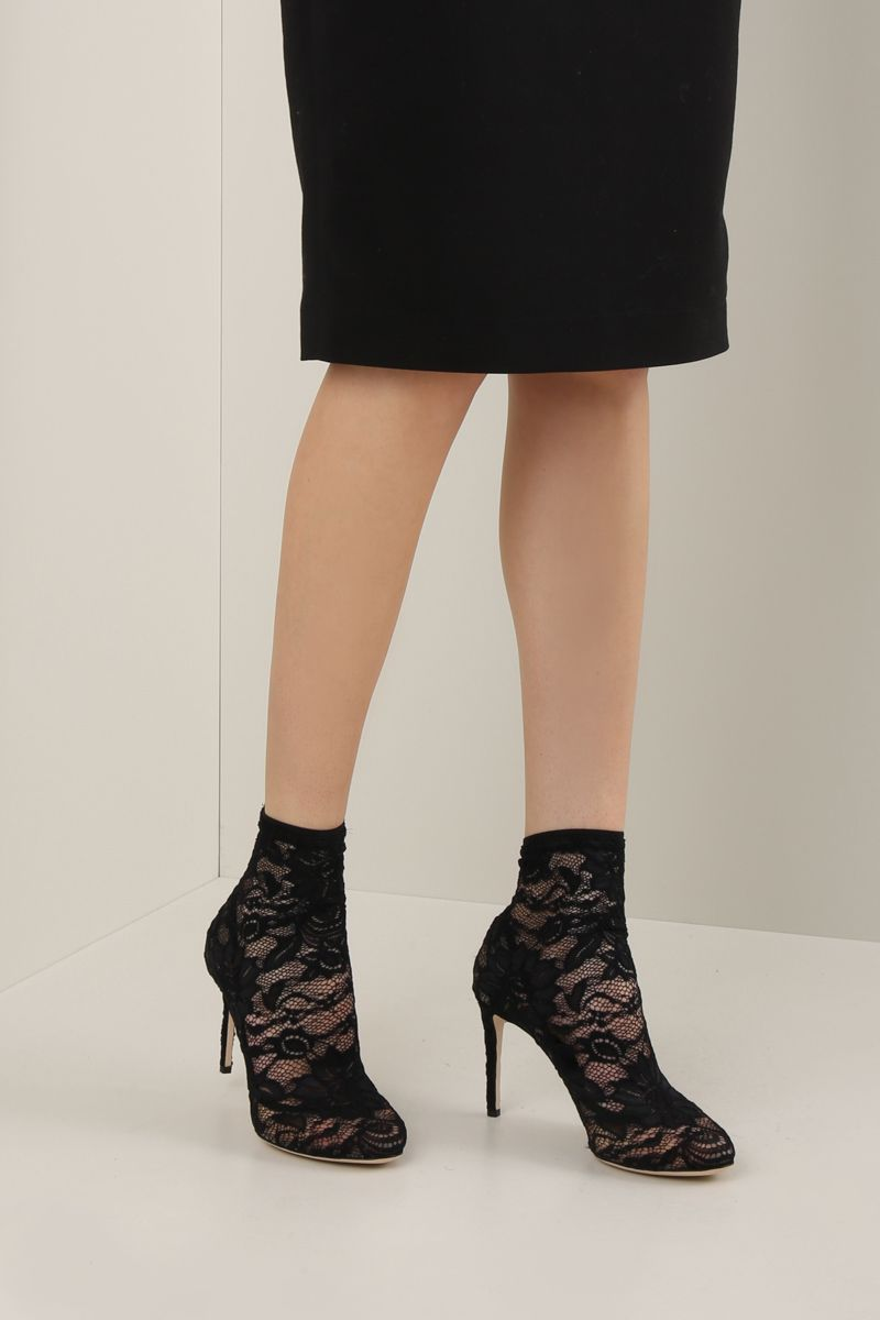 DOLCE & GABBANA: Bette ankle boots in Taormina lace Color Black_2