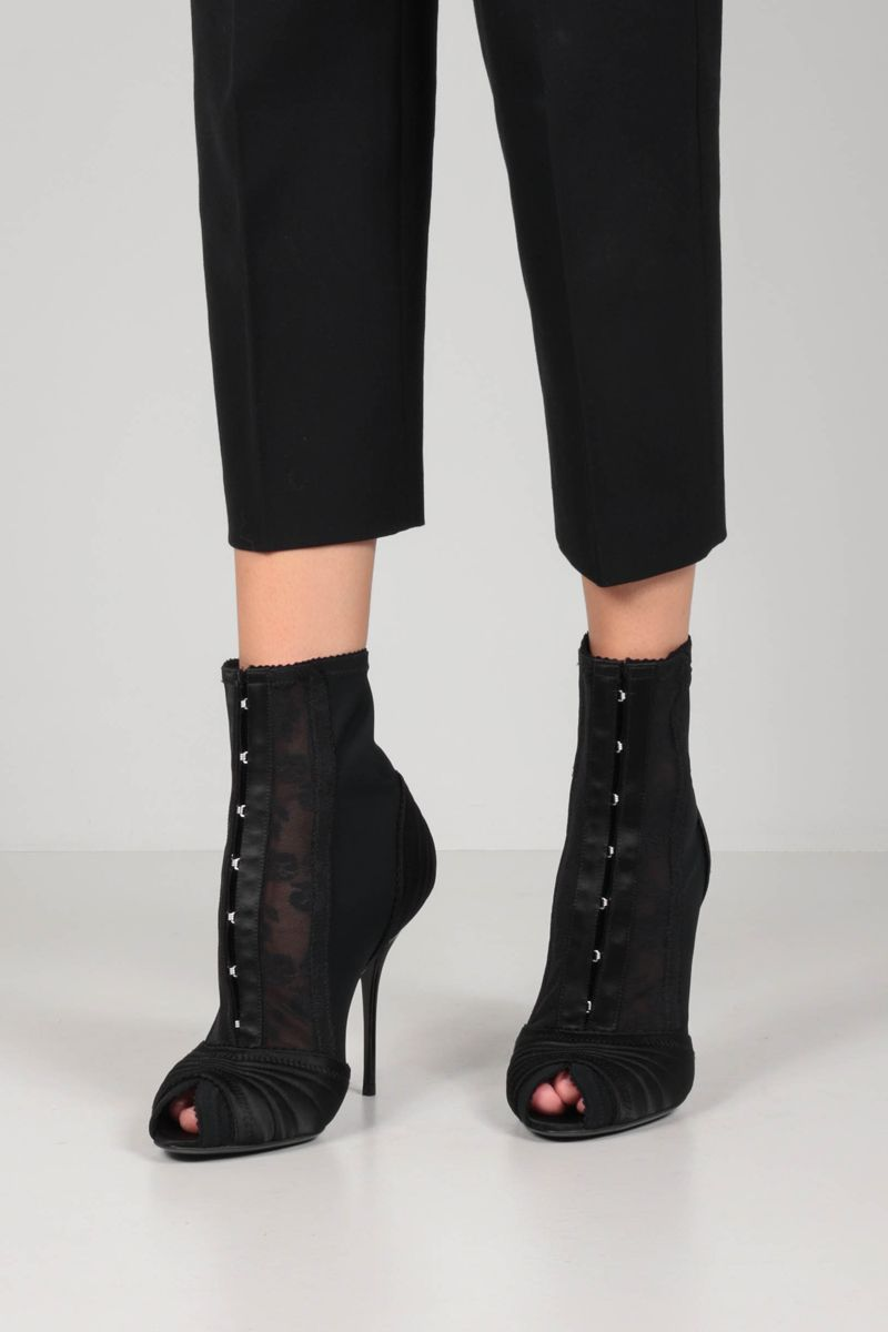 DOLCE & GABBANA: Bette satin and stretch fabric open-toe ankle boots Color Black_2