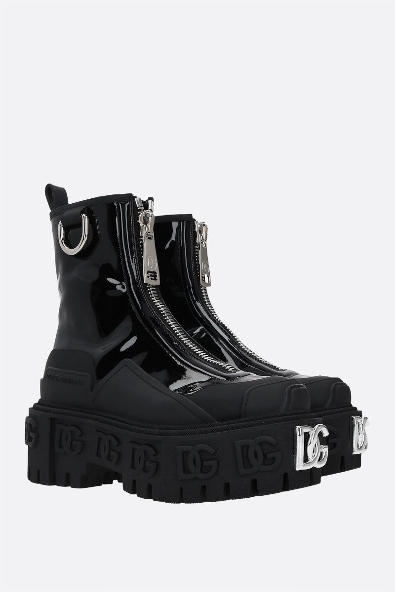 DOLCE & GABBANA: Hi-Trekking patent and rubberized leather ankle boots Color Black_2