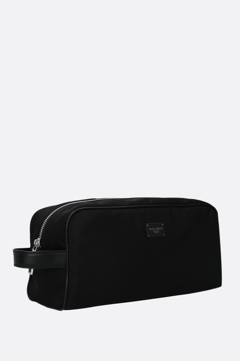 DOLCE & GABBANA: leather-detailed nylon beauty case Color Black_2