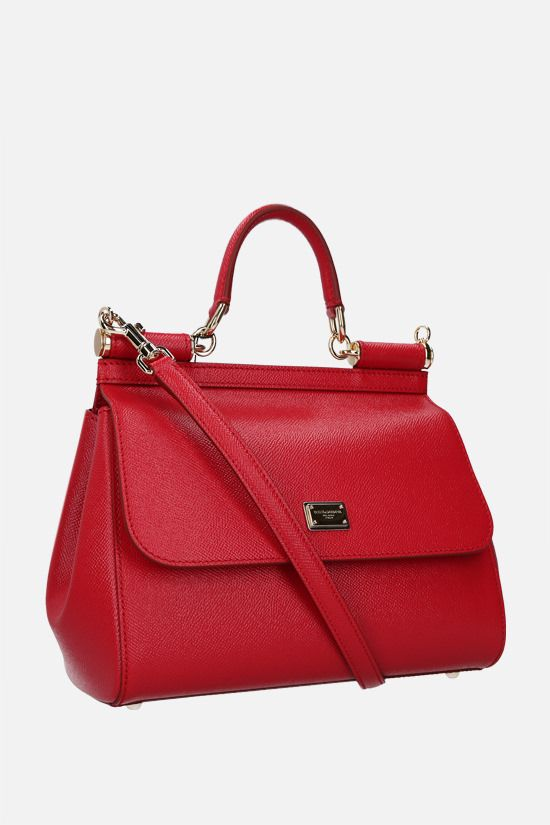 DOLCE & GABBANA: Sicily medium Dauphine leather top handle bag Color Red_2