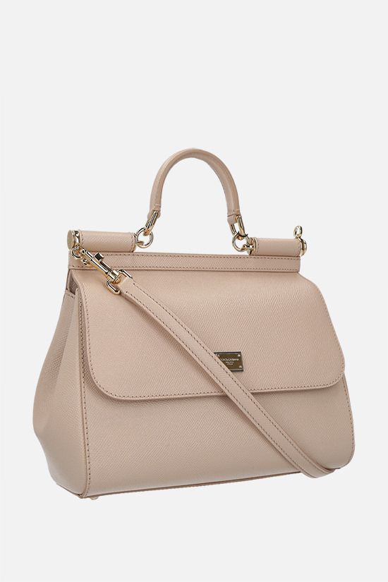 DOLCE & GABBANA: Sicily medium Dauphine leather top handle bag Color Pink_2