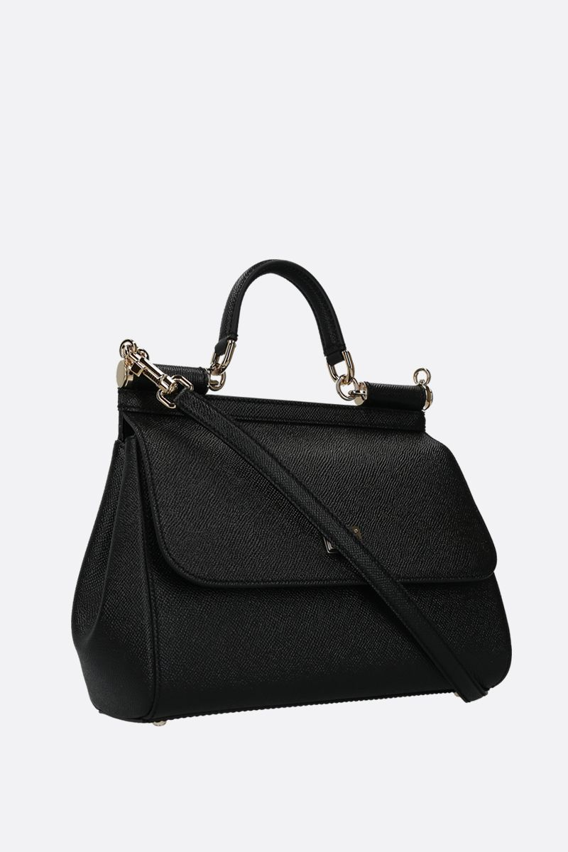 DOLCE & GABBANA: Sicily medium Dauphine leather top handle bag Color Black_2