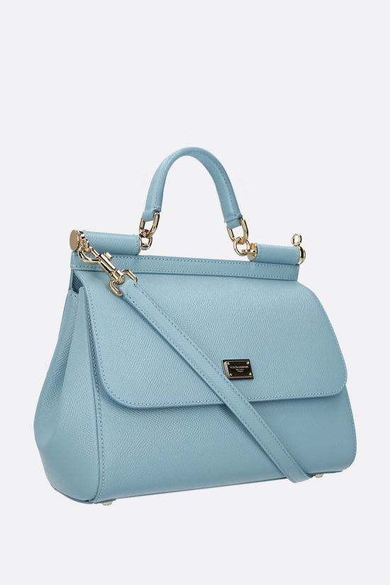 DOLCE & GABBANA: Sicily medium Dauphine leather handbag Color Blue_2