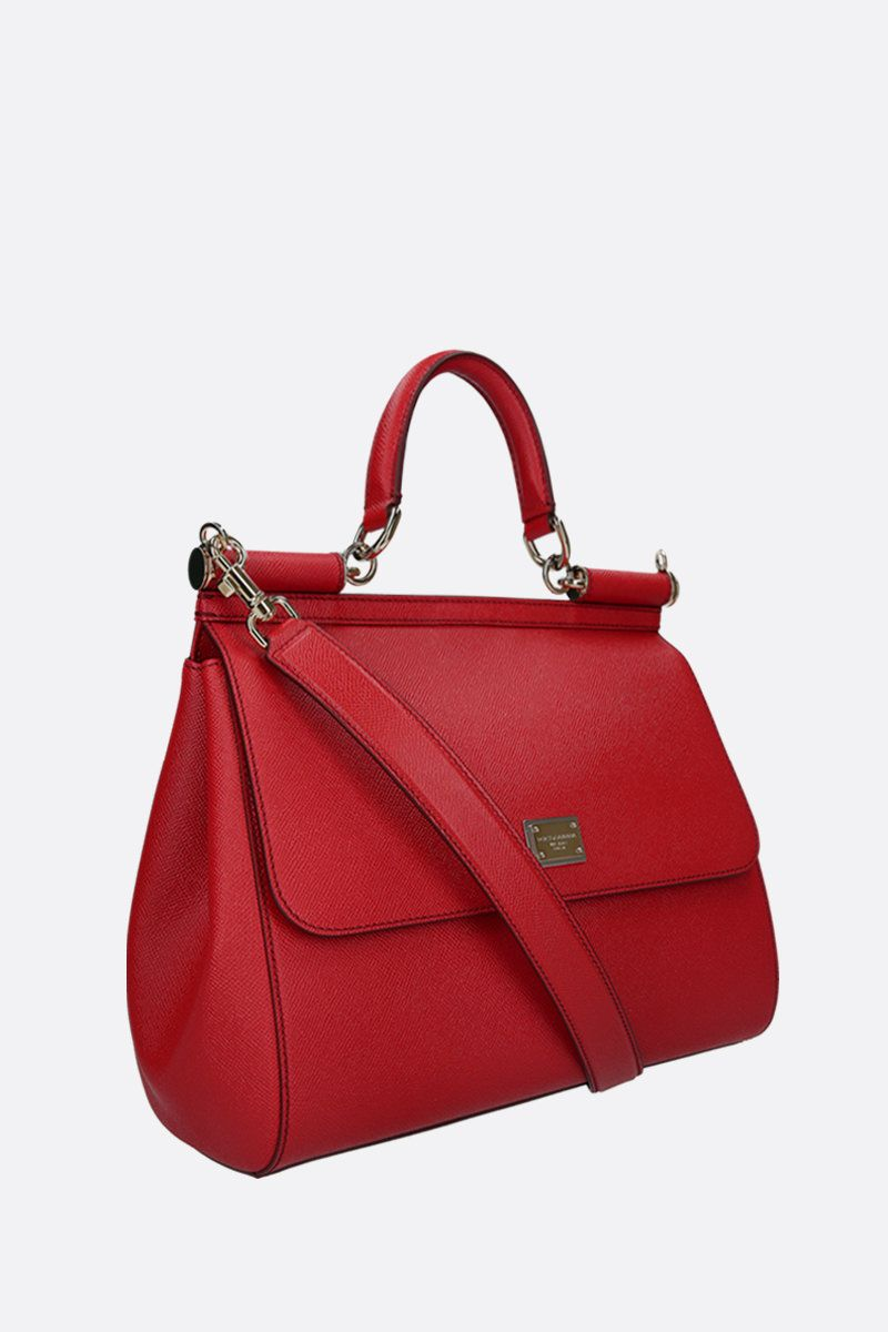 DOLCE & GABBANA: Sicily small Dauphine leather top handle bag Color Red_2