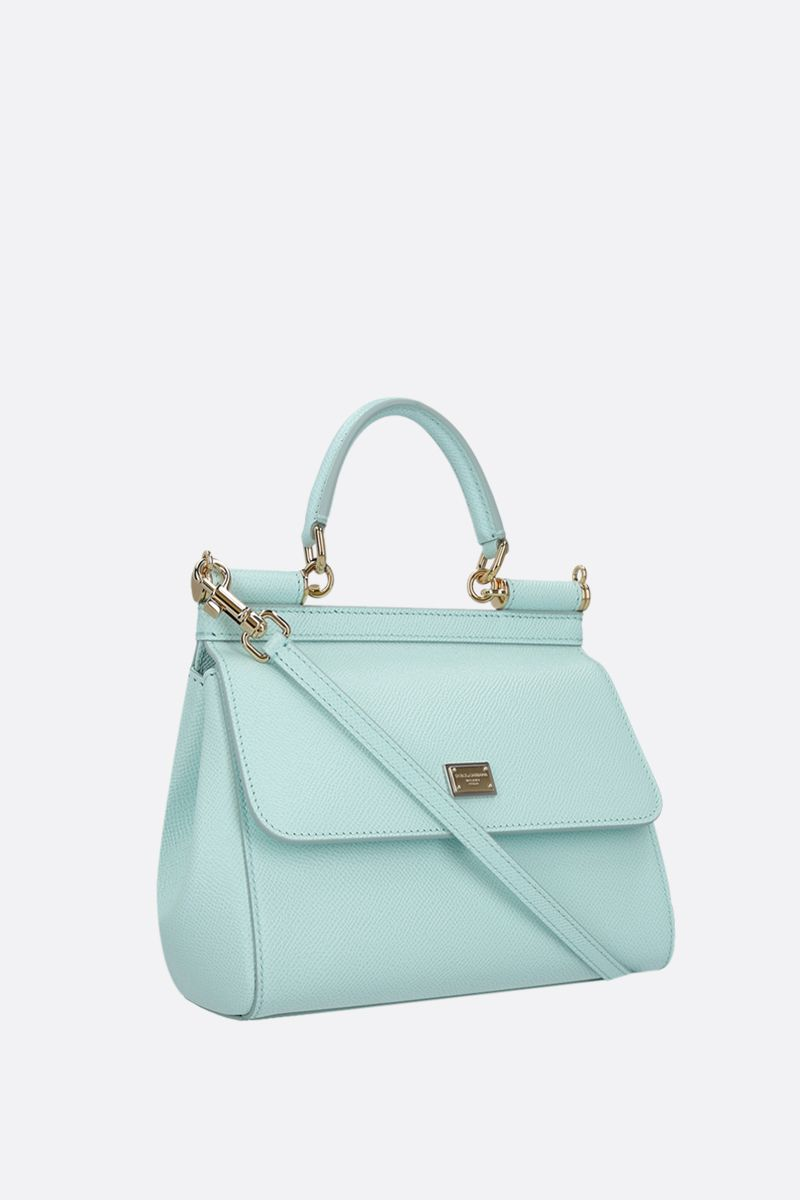 DOLCE & GABBANA: Sicily small Dauphine leather top handle bag Color Blue_2