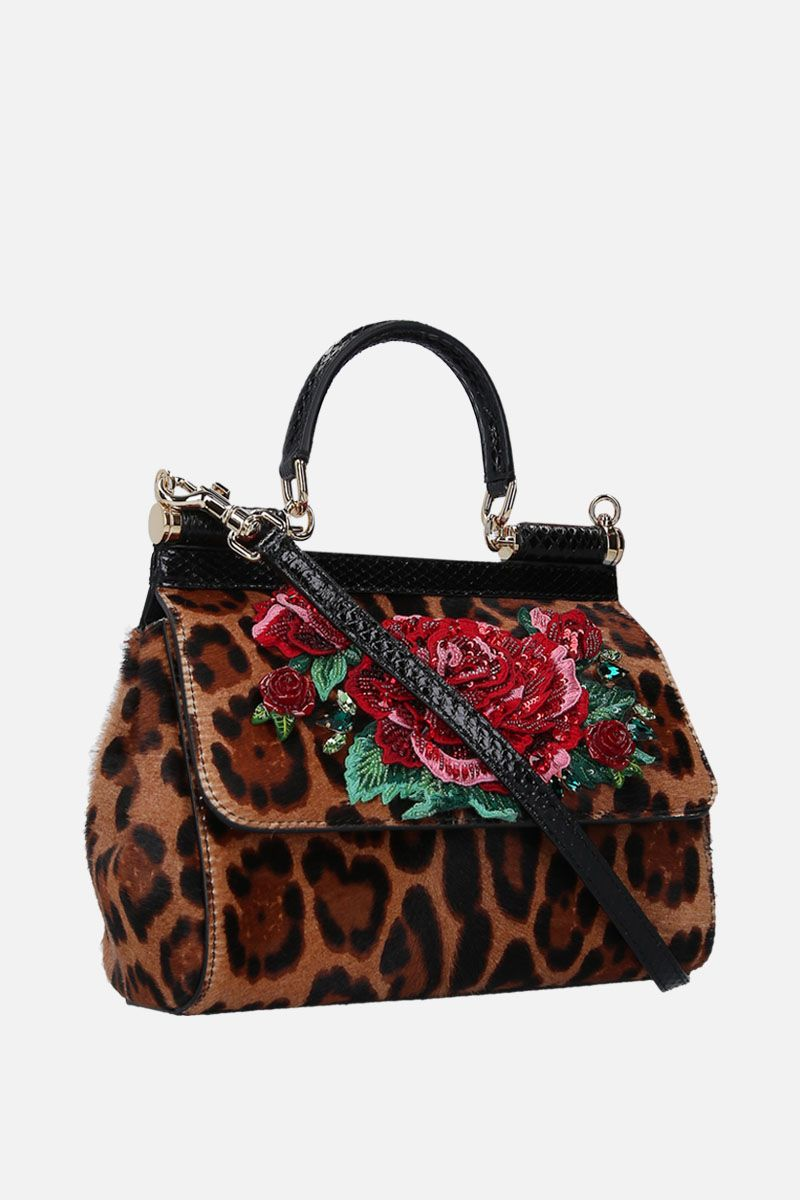 DOLCE & GABBANA: small Sicily bag in leopard print embroidered pony Color Animalier_2