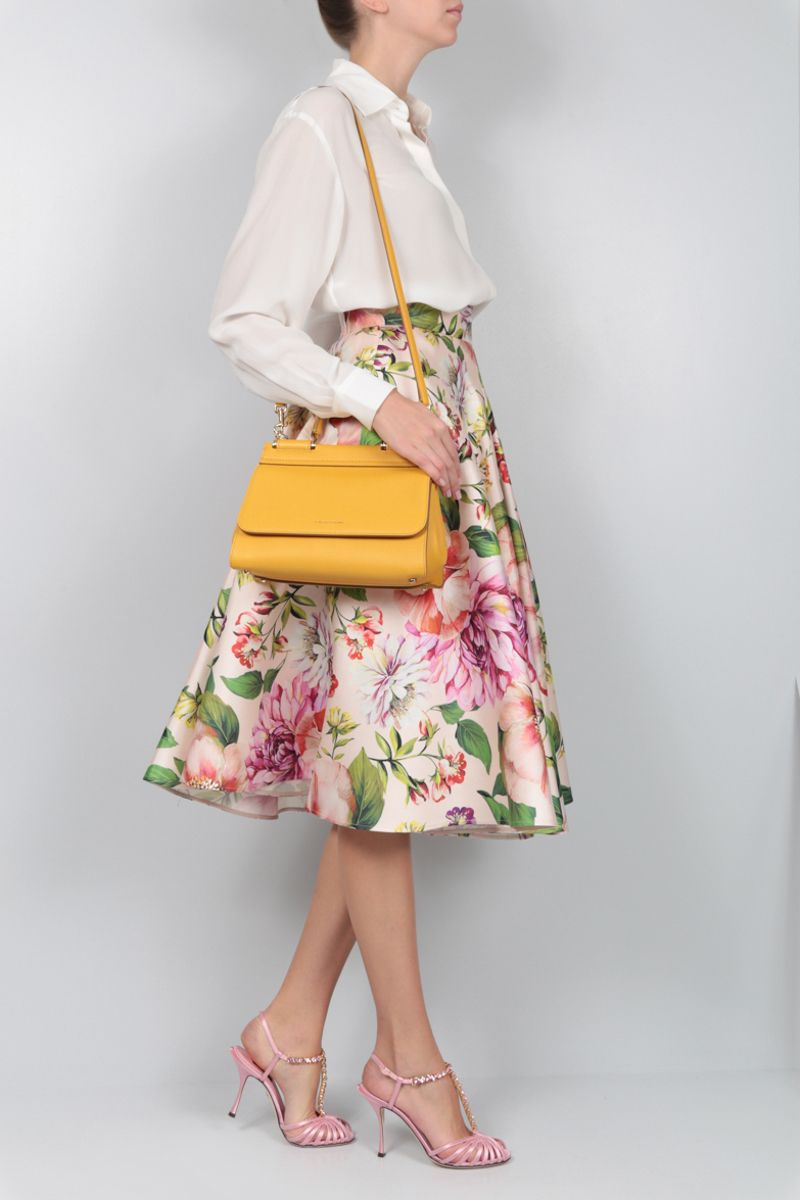 DOLCE & GABBANA: Sicily Soft small handbag in grainy leather Color Yellow_2
