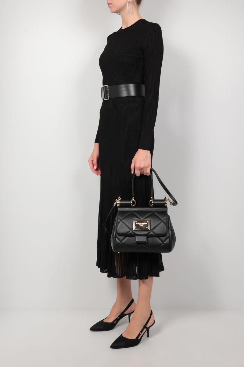 DOLCE & GABBANA: Sicily medium quilted leather top handle bag Color Black_2