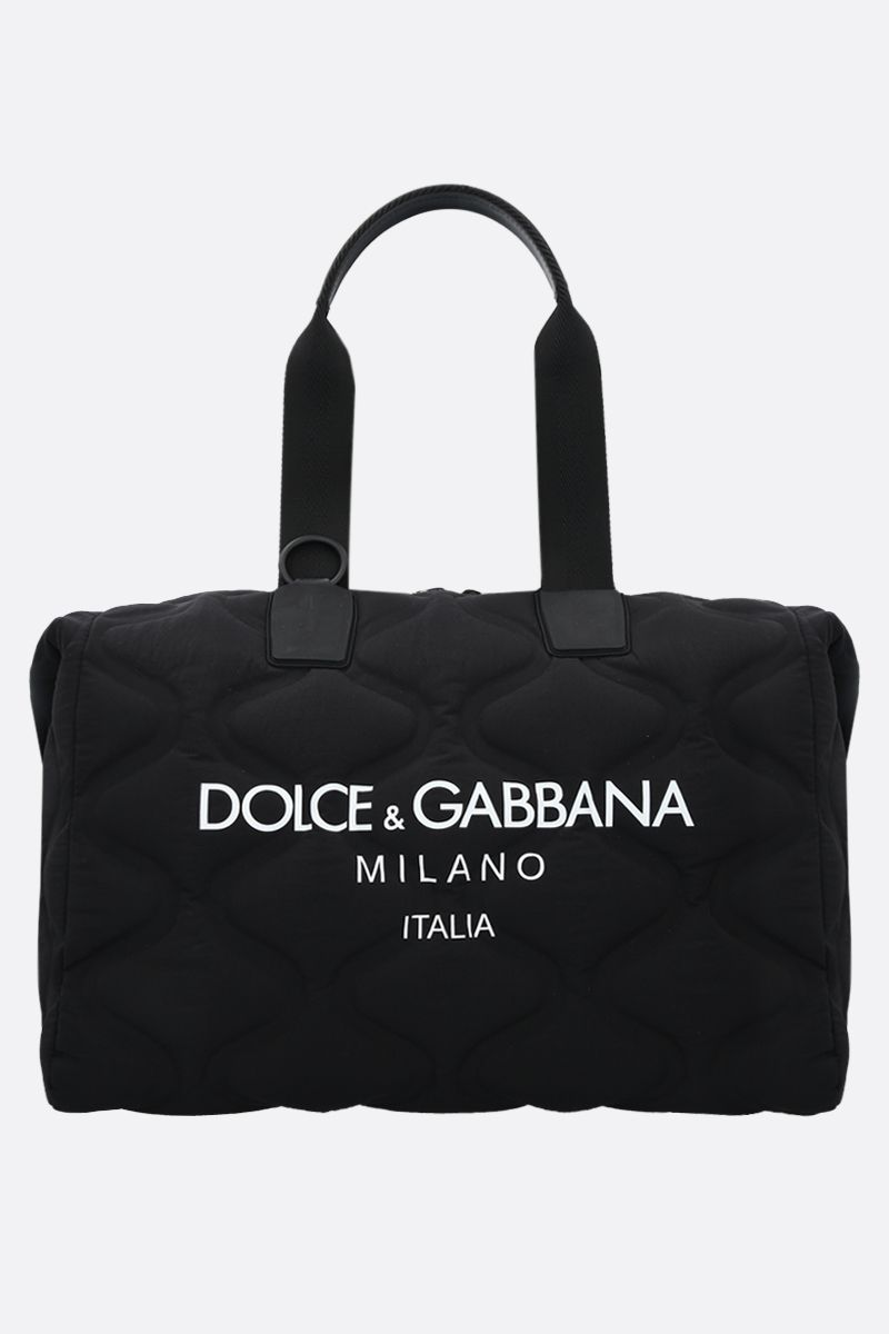 DOLCE & GABBANA: Palermo Tecnico nylon weekend bag Color Black_1
