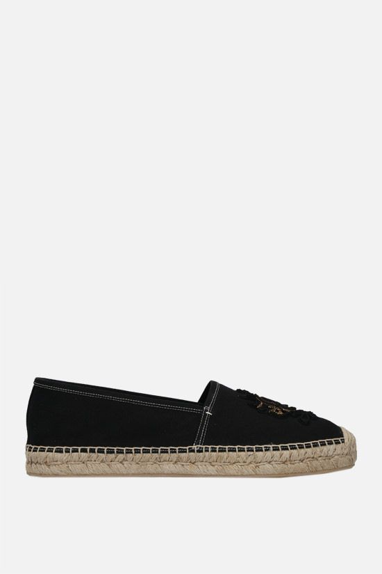 DOLCE & GABBANA: coat of arms patch canvas espadrilles Color Black_1