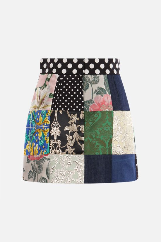 DOLCE & GABBANA: A-line miniskirt in a patchwork of fabrics Color Multicolor_2