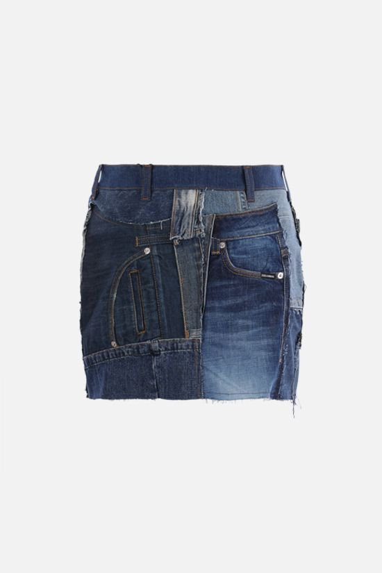 DOLCE & GABBANA: denim patchwork miniskirt Color Multicolor_2
