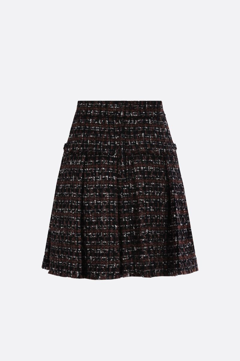 DOLCE & GABBANA: gonna corta con pinces in tweed Colore Neutro_2