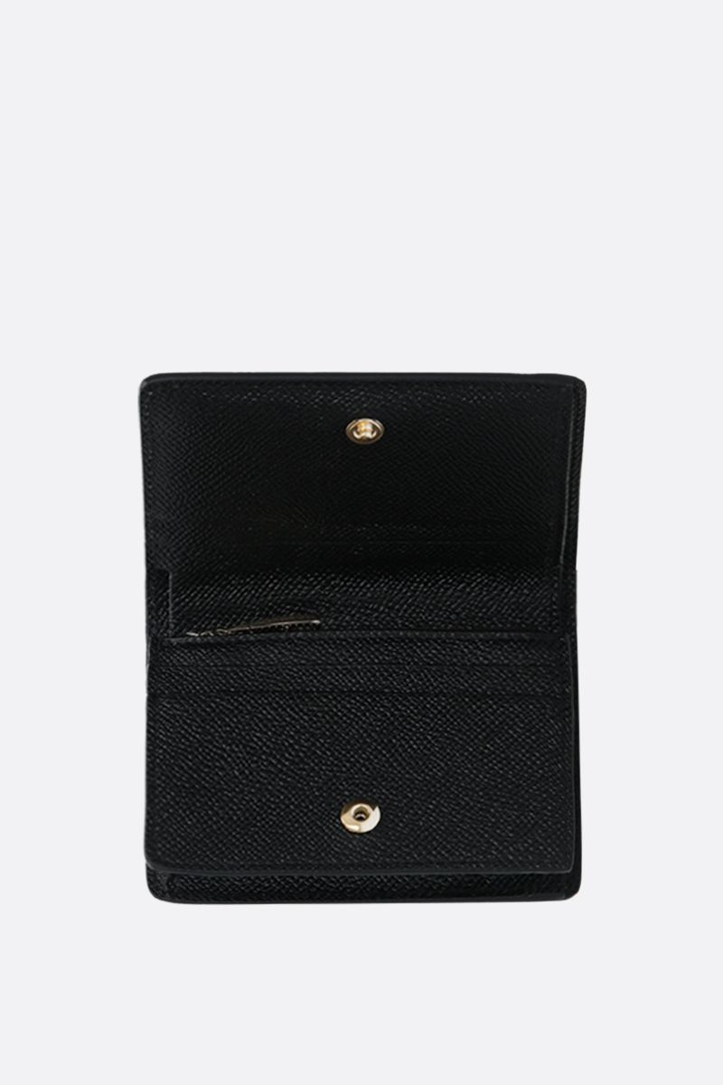 DOLCE & GABBANA: DG-detailed Dauphine leather mini wallet Color Black_2