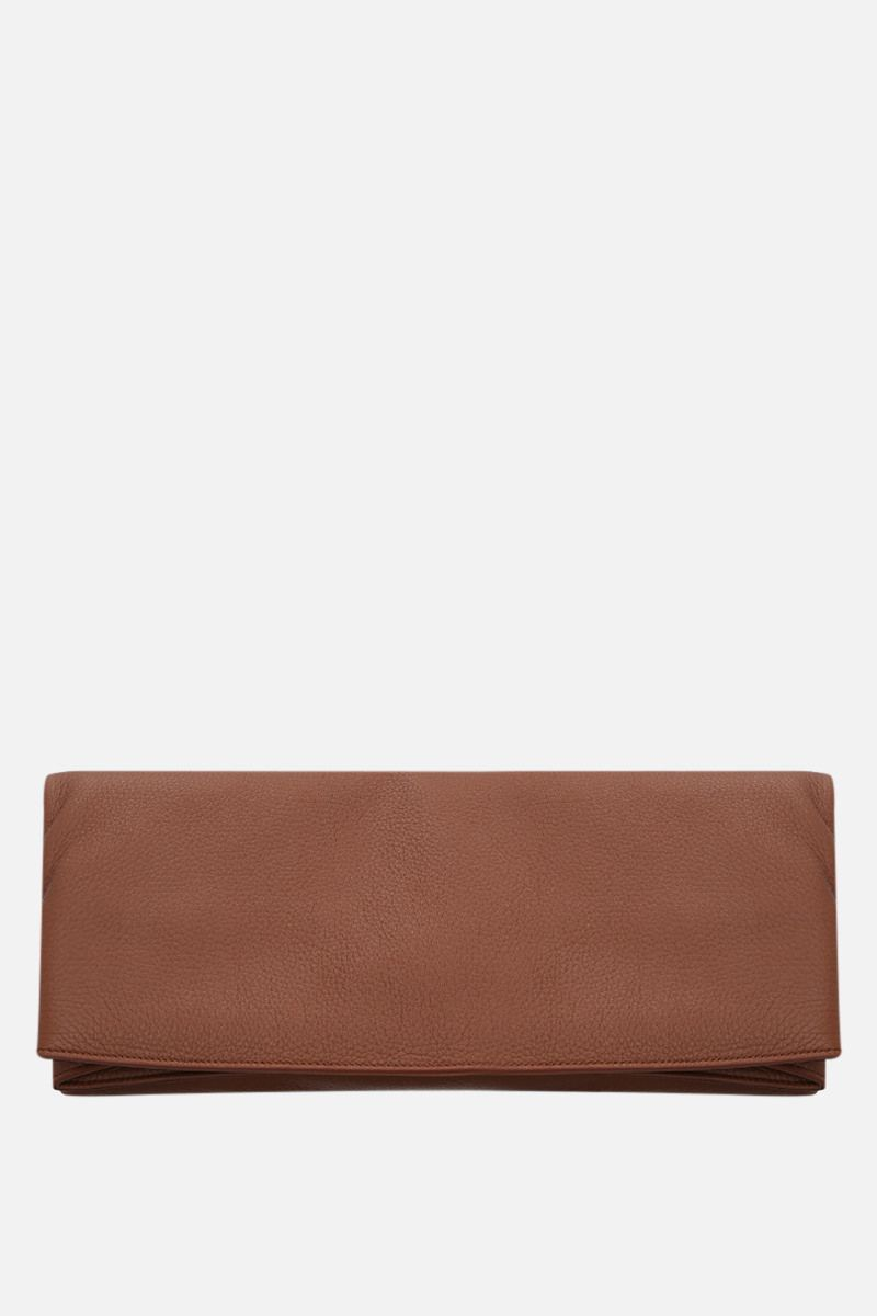 GABRIELA HEARST: Phoebe grainy leather clutch Color Brown_1