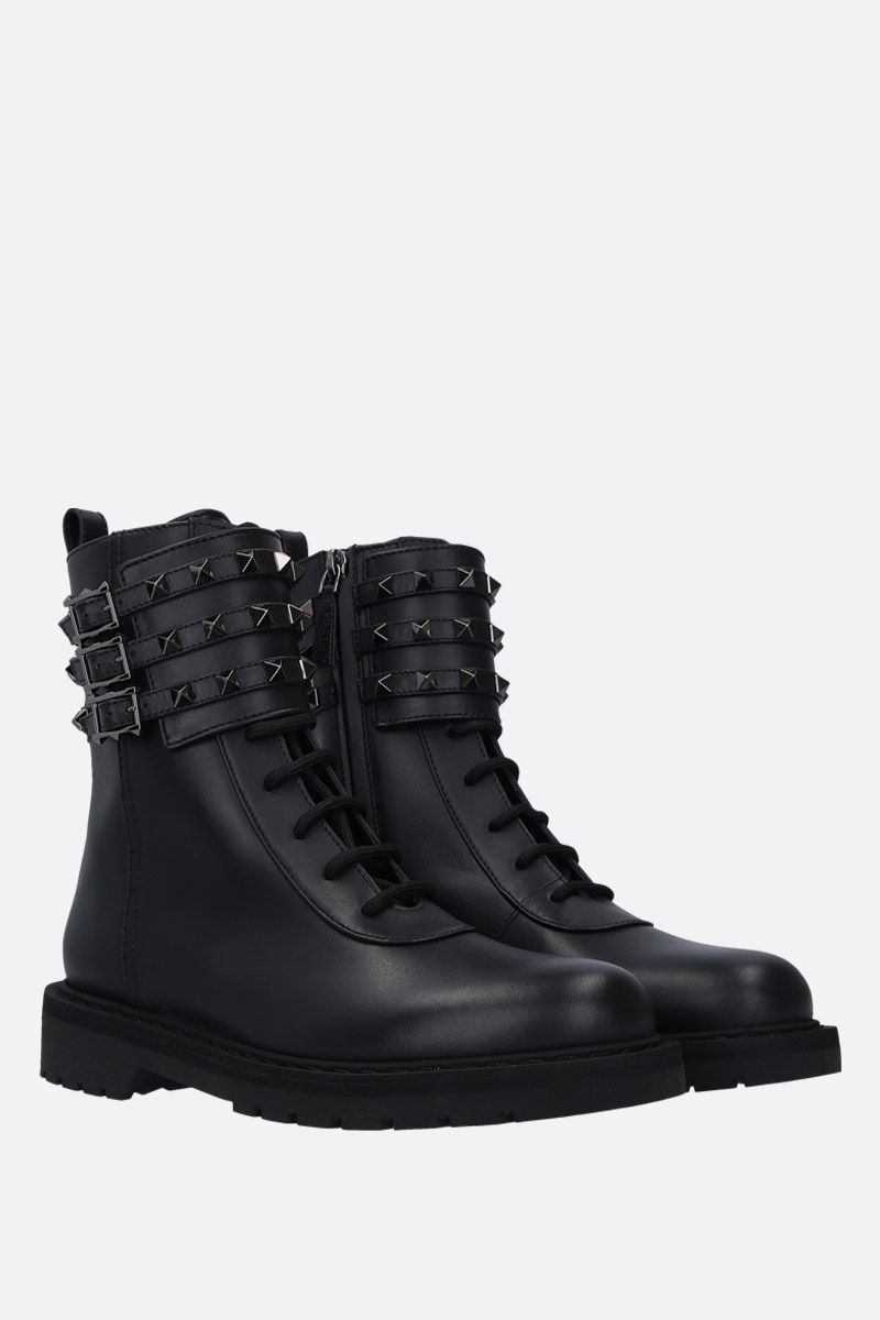 VALENTINO GARAVANI: Rockstud combat boots in smooth leather Color Black_2