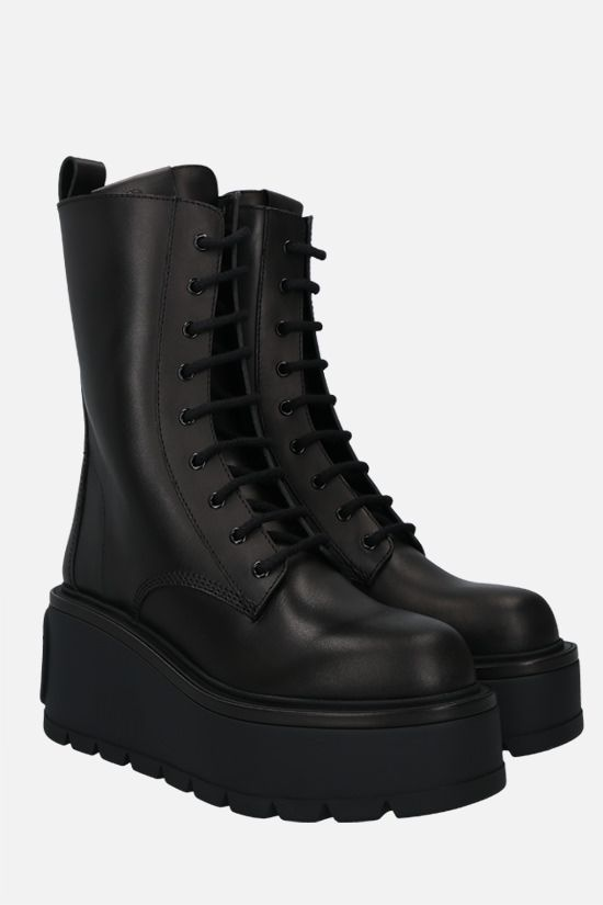 VALENTINO GARAVANI: Uniqueform smooth leather combat boots Color Black_2