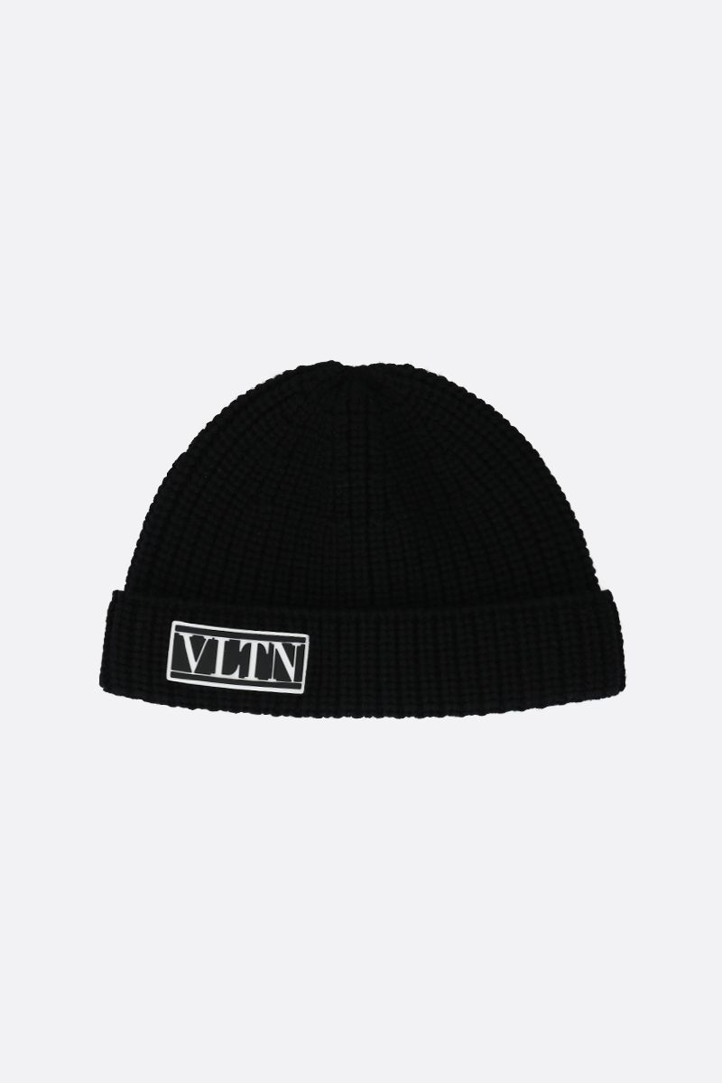 VALENTINO GARAVANI: VLTN wool knit beanie Color Black_1