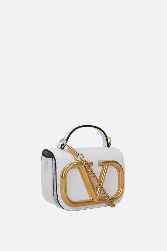 VALENTINO GARAVANI: Supervee smooth leather chain clutch Color White_2