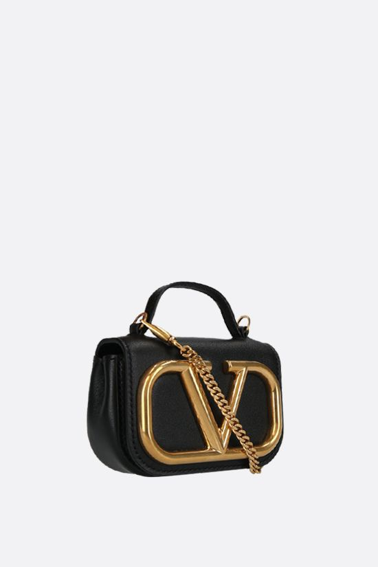 VALENTINO GARAVANI: Supervee smooth leather chain clutch Color Black_2
