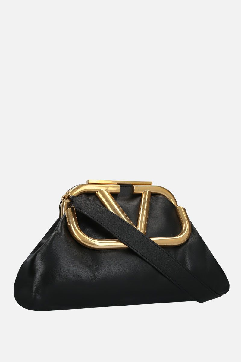 VALENTINO GARAVANI: Supervee soft nappa oversize clutch Color Black_2