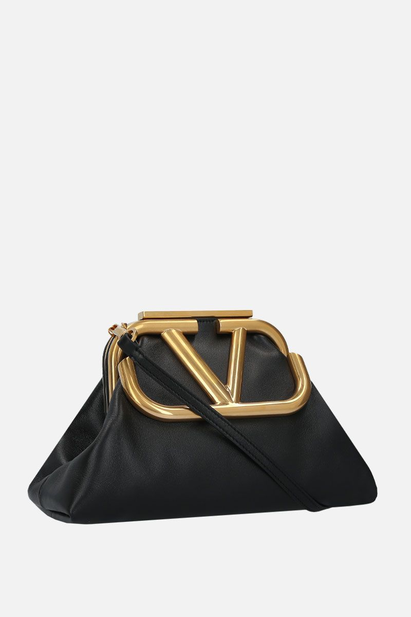VALENTINO GARAVANI: Supervee soft nappa strap clutch Color Black_2
