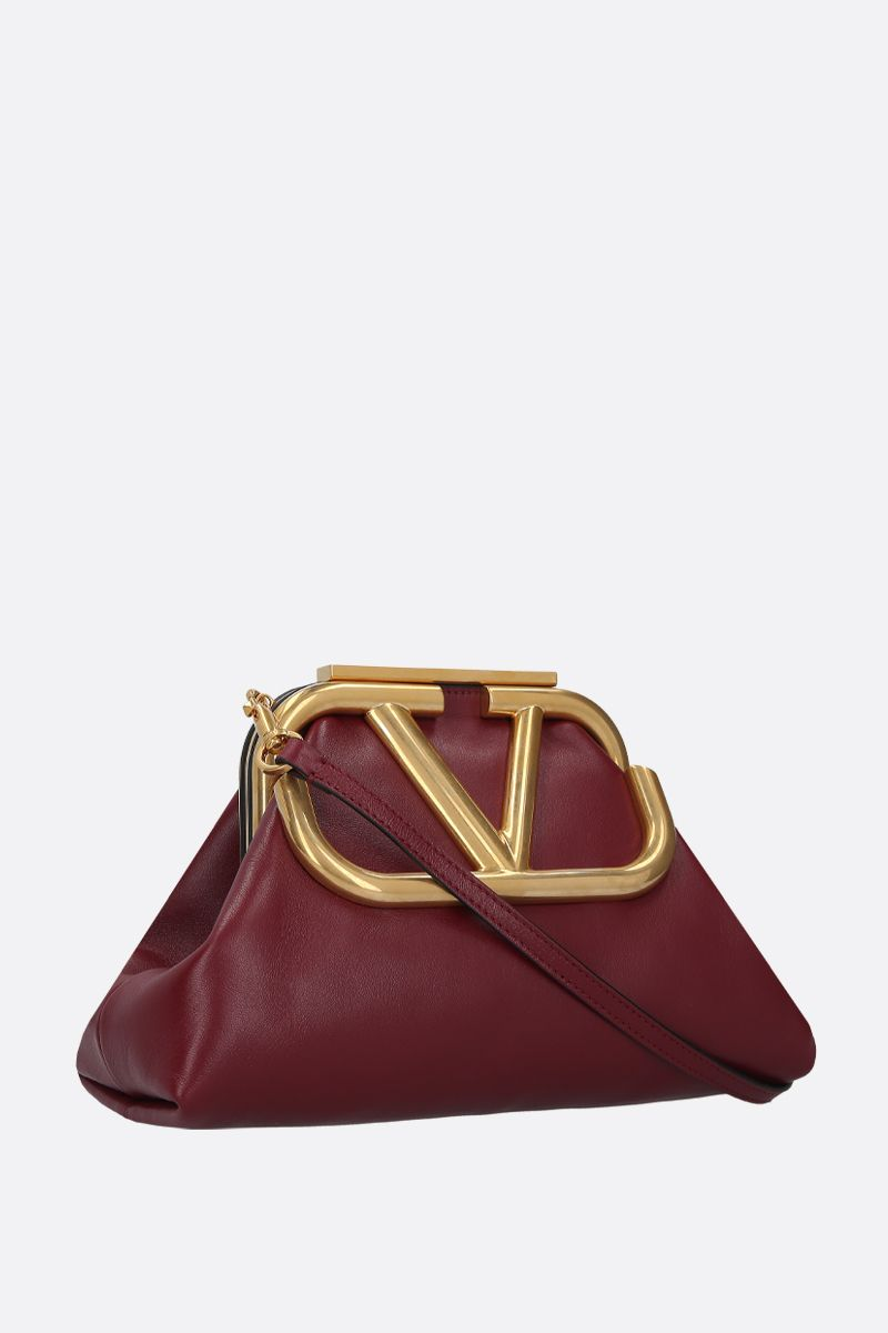 VALENTINO GARAVANI: Supervee soft nappa strap clutch Color Red_2