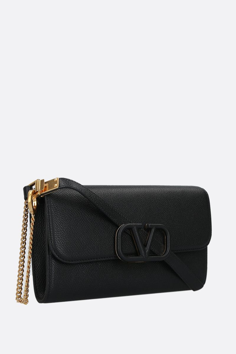 VALENTINO GARAVANI: VSLING grainy leather chain clutch Color Black_2