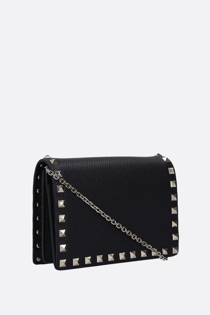VALENTINO GARAVANI: Rockstud grainy leather chain clutch Color Black_2