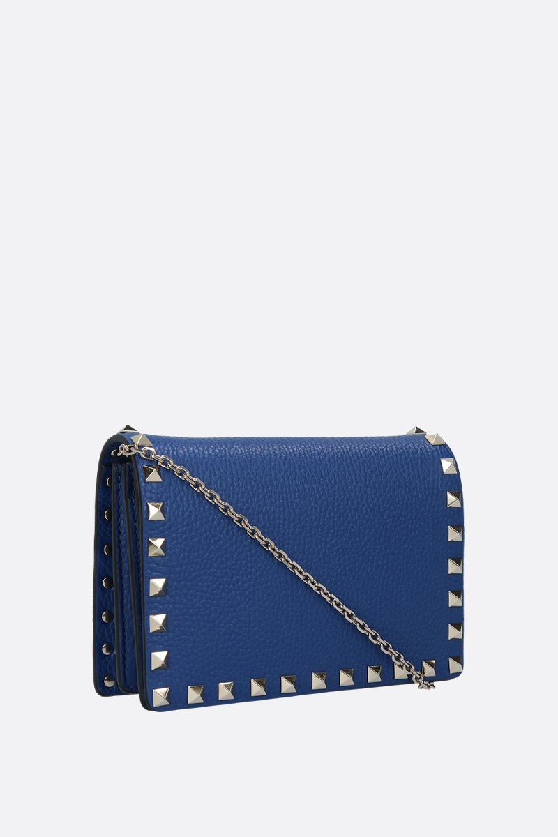 VALENTINO GARAVANI: Rockstud grainy leather chain clutch_2