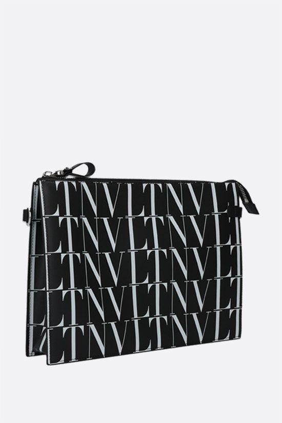 VALENTINO GARAVANI: VLTN TIMES smooth leather pouch Color Black_2