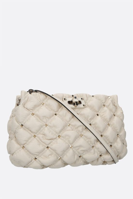 VALENTINO GARAVANI: SpikeMe quilted nappa clutch Color Neutral_2