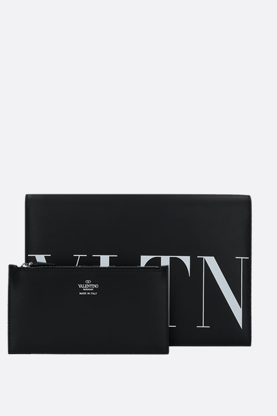 VALENTINO GARAVANI: VLTN smooth leather clutch Color Black_2