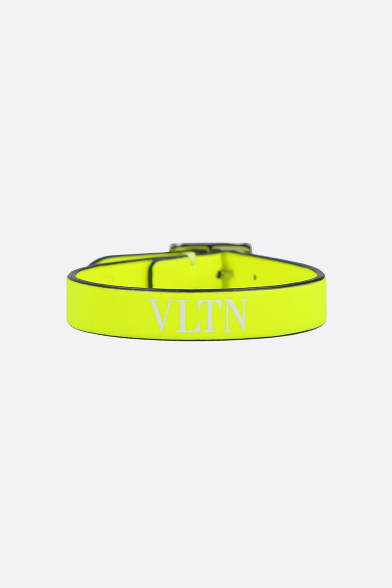 VALENTINO GARAVANI: VLTN smooth leather bracelet Color Yellow_1