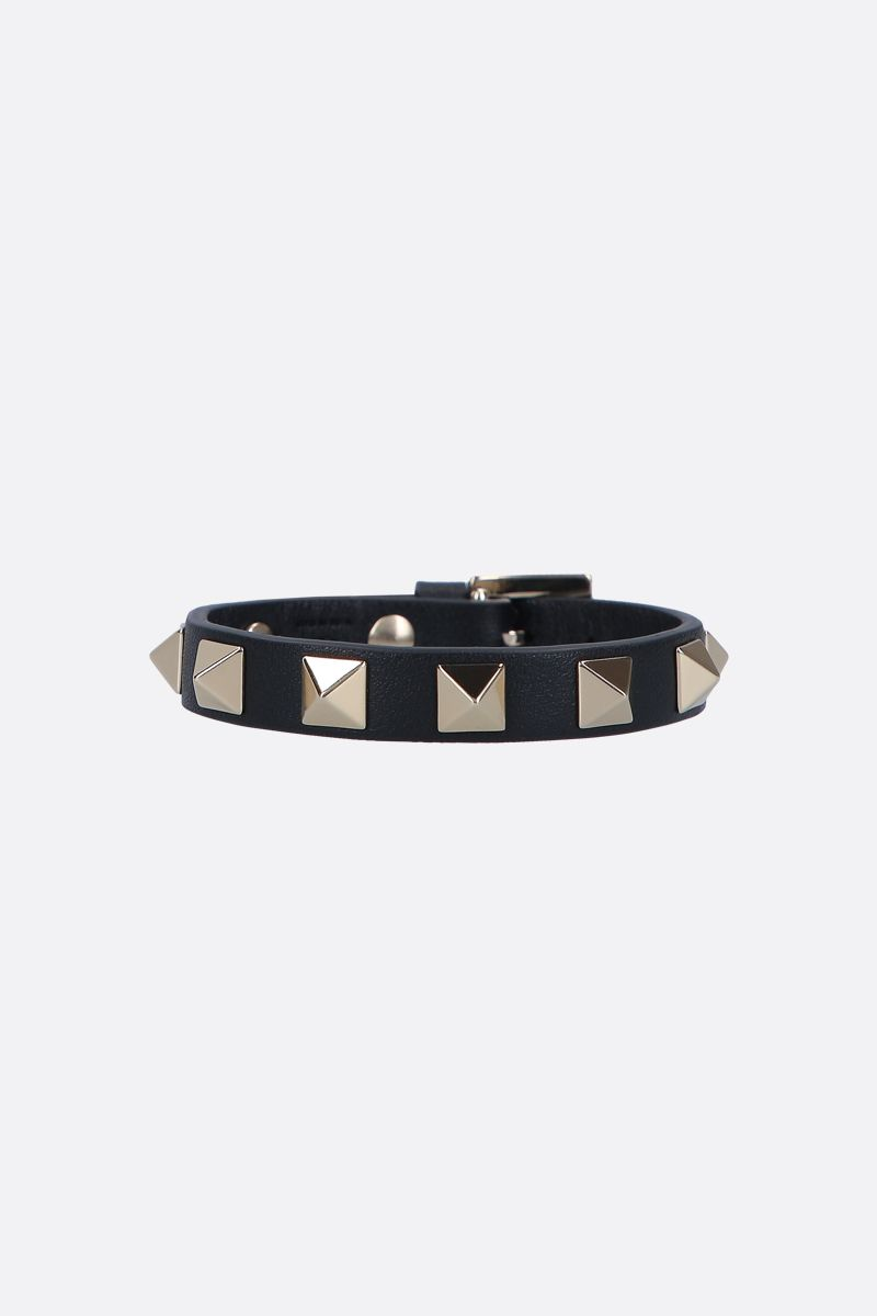 VALENTINO GARAVANI: Rockstud smooth leather bracelet Color Black_1